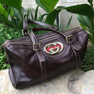 Gucci Brit Boston Bag in Brown